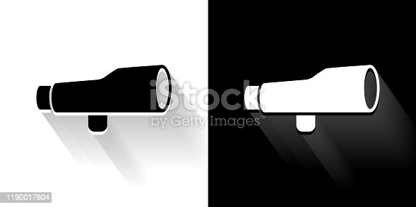 Finder Scope Black and White Icon with Long Shadow. This 100% royalty free vector illustration is featuring the square button and the main icon is depicted in black and in white with a black icon on it. It also has a long shadow to give the icons more depth.