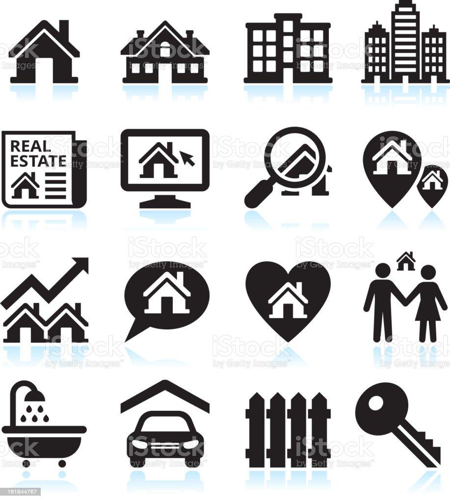 Finding a house black & white vector icon set vector art illustration