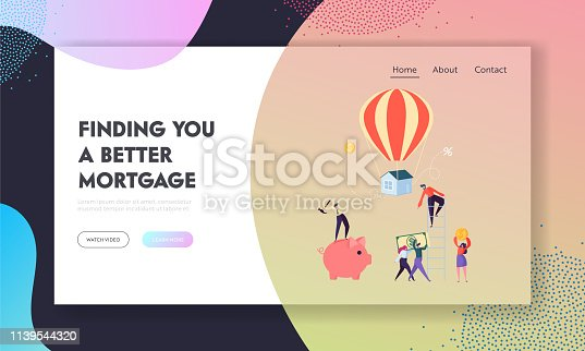 Finding Better Mortgage Landing Page. Borrower Hard Trying Pay on Loan. Character Raise Funds to Buy House or for Purpose Putting Website or Web Page. Flat Cartoon Vector Illustration