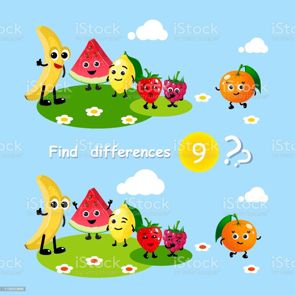 Finding differences. Children activity game happy cartoon food fruits...