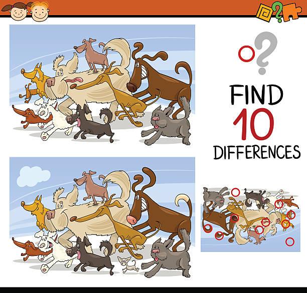 wyszukiwanie różnic gra kreskówka, - kontrast stock illustrations
