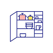 istock Finding free space in house RGB color icon 1303842577