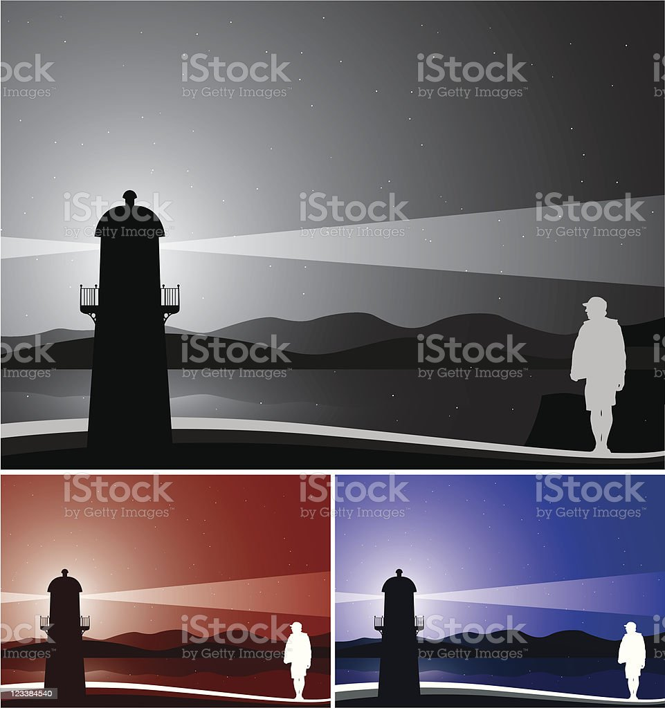 Finding Home Lighthouse vector illustration with male silhouette, 3 different color theme. All elements are layered. Included files; Aics2,Eps8 and 300 dpi jpg. Back Lit stock vector