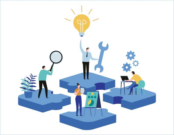 finding new ideas. problem solving. vector illustration banner. teamwork search for solutions miniature people team working flat cartoon design for web mobile - umiejętność stock illustrations