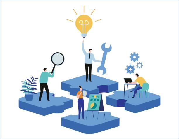 stockillustraties, clipart, cartoons en iconen met het vinden van nieuwe ideeën. oplossen van problemen. vector illustratie banner. teamwork oplossingen miniatuur mensen team dat werkt platte cartoon ontwerp voor mobiele web zoeken - professioneel beroep