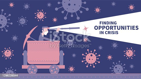 istock Finding opportunities in crisis, a business leader with a headlight and hand-held telescope and pickaxe riding a minecart through new coronavirus (COVID-19, bacterium, virus) 1296239344