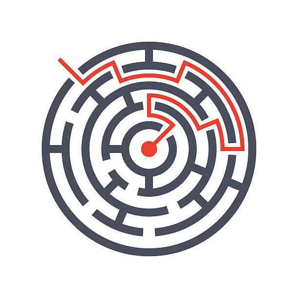 finding solutions concept - labyrinthgarten stock-grafiken, -clipart, -cartoons und -symbole