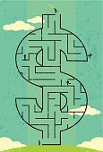 """Businessmen looking for the """"key to wealth"""" in a dollar symbol maze. The men and maze are on a separate labeled layer from the background."""