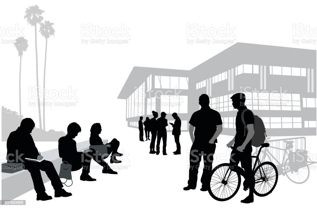Finding Time To Chat University vector art illustration