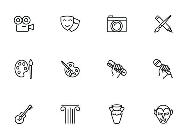 illustrations, cliparts, dessins animés et icônes de icônes de beaux-arts et populaire des arts - art