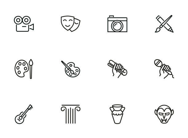 Fine and popular arts icons Fine and popular arts icon. Set of line icons on white background. Theater, painting, music, cinema, photography. Hobby concept. Vector illustration can be used for topics like leisure, entertainment art stock illustrations