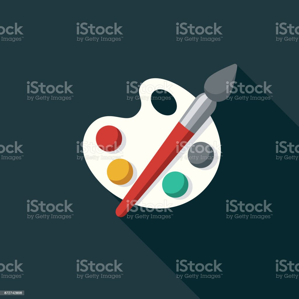 Fine Arts Flat Design Education Icon with Side Shadow vector art illustration