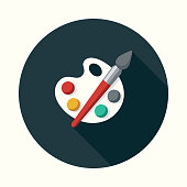 Fine Arts Flat Design Education Icon with Side Shadow