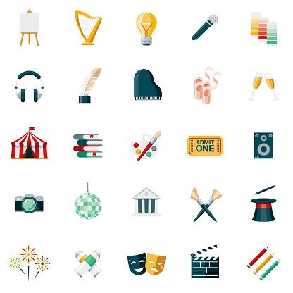 Fine Arts Flat Design Icon Set