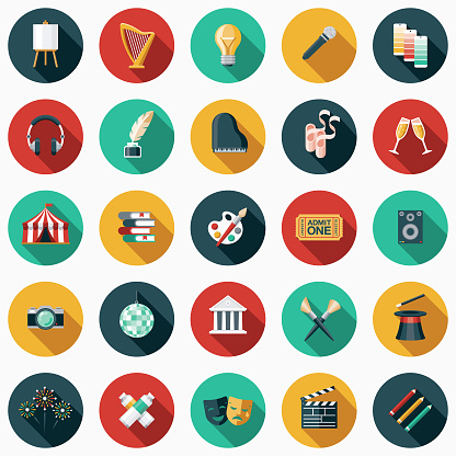 Fine Arts Flat Design Icon Set with Side Shadow