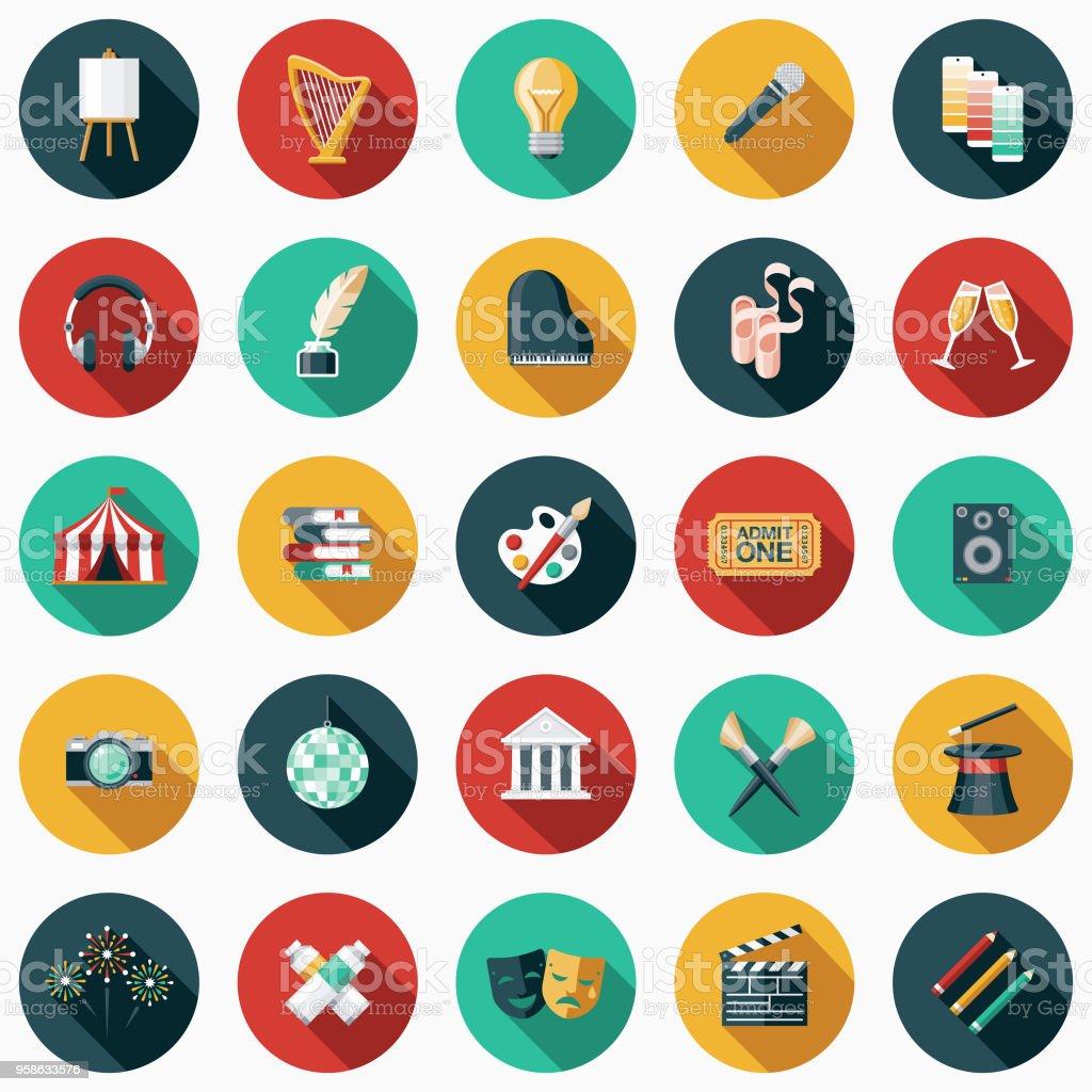 Bildende Kunst-flaches Design-Icon-Set mit Seite Schatten – Vektorgrafik