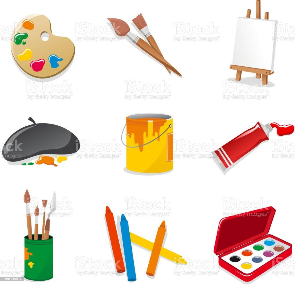 Fine Arts Symbol Set Farbpalette brush Pult Acryl Farbe-Malstiften – Vektorgrafik