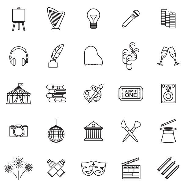 fine arts thin line outline icon set - music and entertainment icons stock illustrations