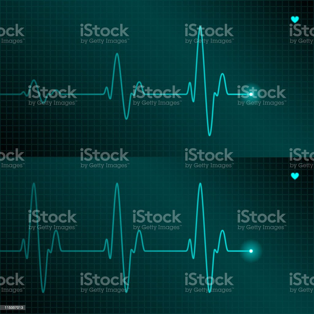A fine blue line of the ECG with a tiny heart symbol vector art illustration