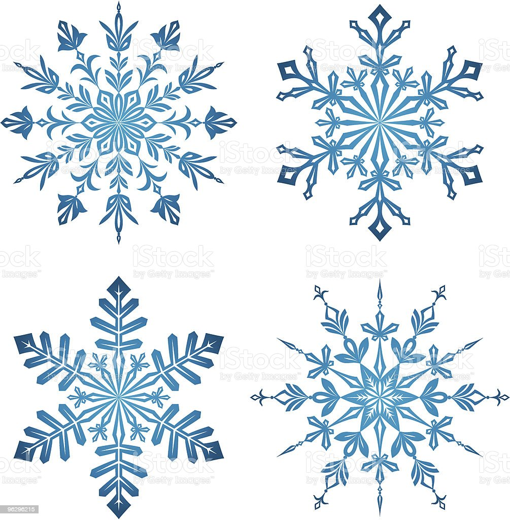 fine blue snowflakes royalty-free stock vector art