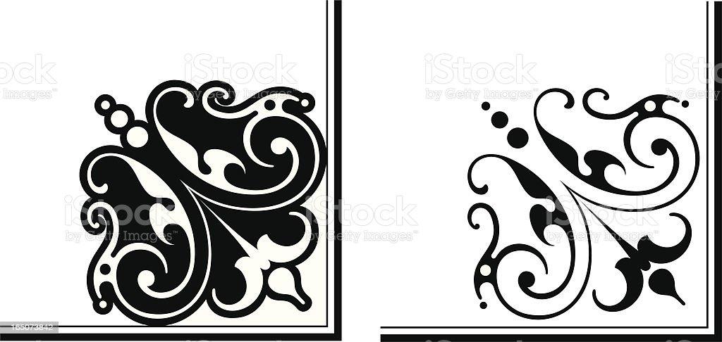 Fine Corner Design vector art illustration