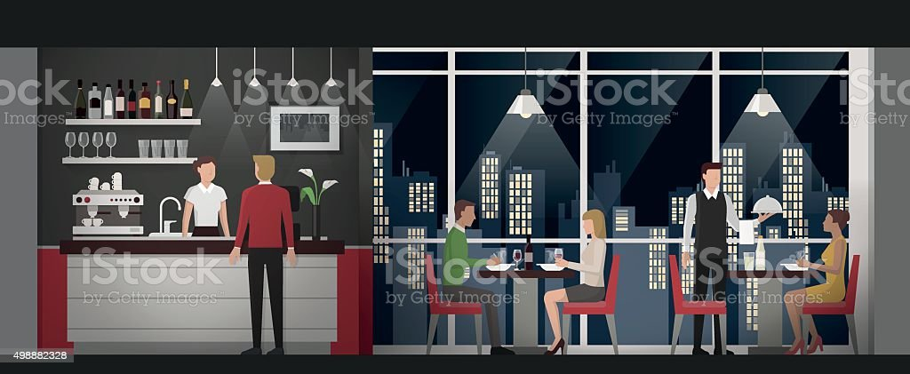 Fine dining at the restaurant vector art illustration