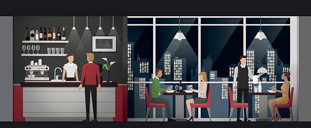 illustrazioni stock, clip art, cartoni animati e icone di tendenza di cena raffinata presso il ristorante - dinner couple restaurant
