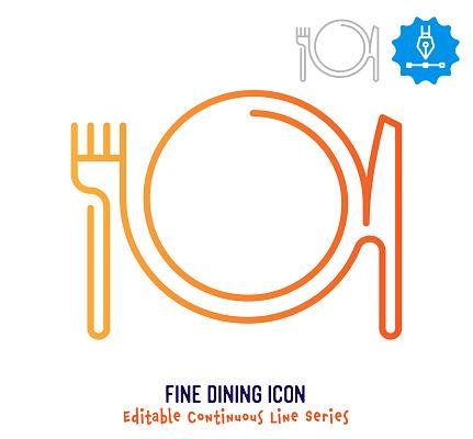 Fine Dining Continuous Line Editable Stroke Line
