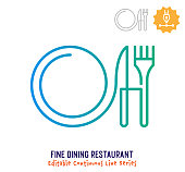 Fine dining restaurant vector icon illustration for logo, emblem or symbol use. Part of continuous one line minimalistic drawing series. Design elements with editable gradient stroke line.