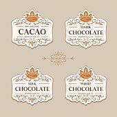 Fine flourish luxury calligraphic cacao emblem, design, template, label. Vector vintage cacao (symbol) for cafe, restaurant, shop, print.