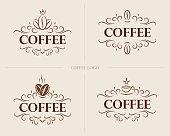 Fine flourish luxury calligraphic coffee emblem, design, template, label. Vector vintage coffee (symbol) for cafe, restaurant, shop.