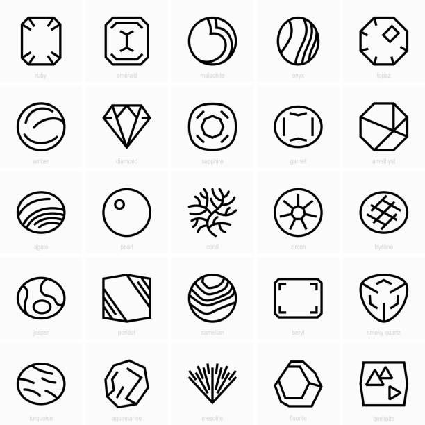stockillustraties, clipart, cartoons en iconen met boete gems pictogrammen - onyx