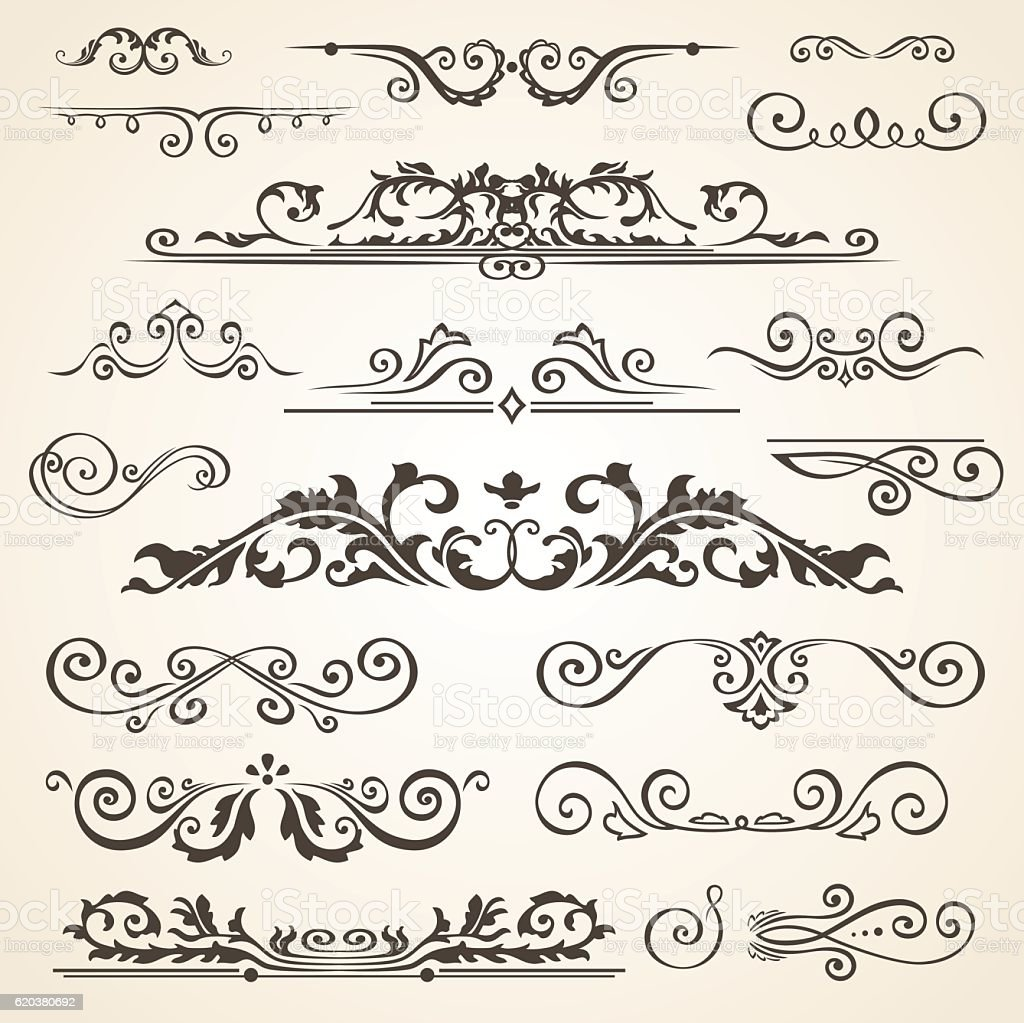 Fine line set of design elements isolated on light background fine line set of design elements isolated on light background - stockowe grafiki wektorowe i więcej obrazów dekoracja royalty-free