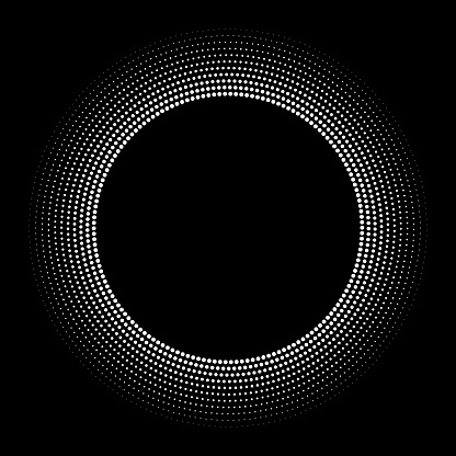 Fine orbital dots in concentric circles, radial size gradient out by scaling