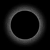 istock Fine orbital dots in concentric circles, radial size gradient out by scaling 1282335824