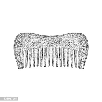 Fine tooth comb illustration in hand drawn vector