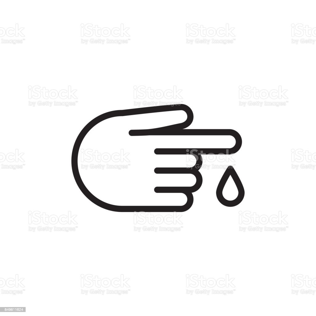 finger blood drop icon on white background vector art illustration
