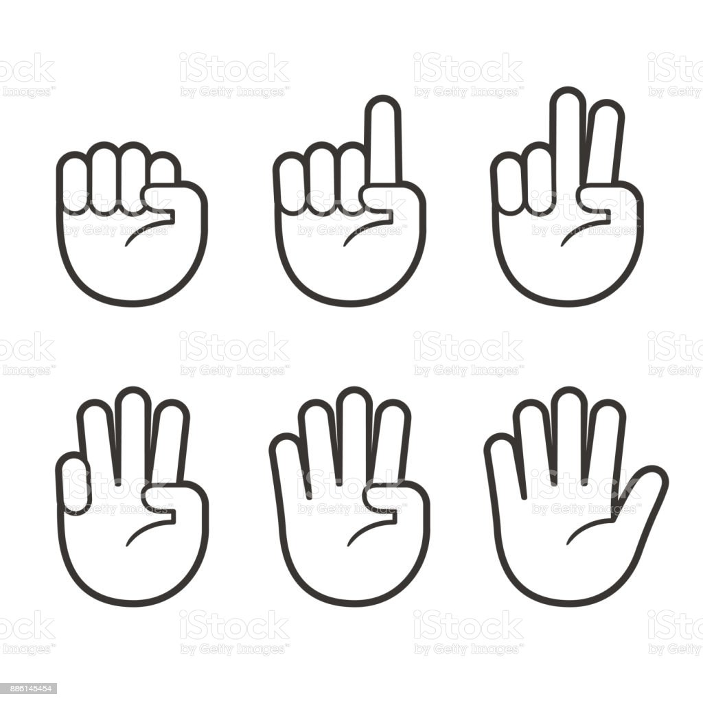 Finger count hand icons Hand icons with finger count. Hand gesture symbols, counting by bending fingers. Vector clip art illustration. Abstract stock vector