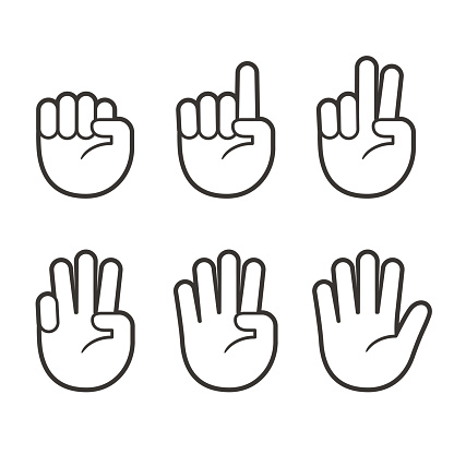 Finger Count Hand Icons Stock Illustration - Download Image Now