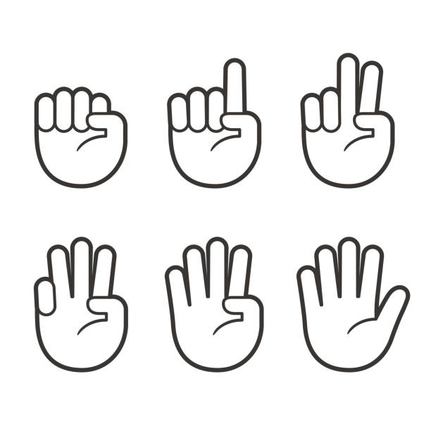 Finger count hand icons Hand icons with finger count. Hand gesture symbols, counting by bending fingers. Vector clip art illustration. counting stock illustrations