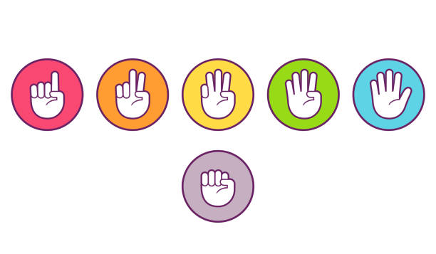 Finger count hand icons Hand icons with finger count. Colored buttons with gesture symbols, counting by bending fingers. Vector flat style clip art illustration. counting stock illustrations