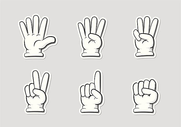 Finger Countdown Cartoon-style icons of hand gestures in countdown, from five to zero. formal glove stock illustrations