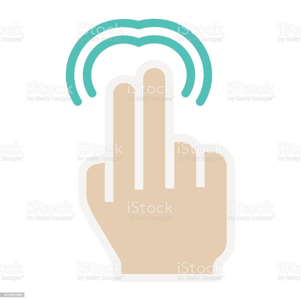 2 の指ダブルタップ フラット アイコンタッチとジェスチャー ...
