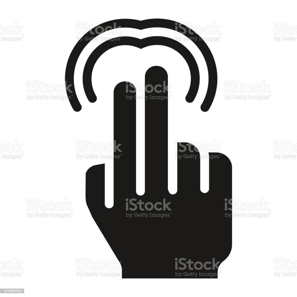 2 指ダブルタップ固体アイコンがありタッチやジェスチャー - アイコン ...