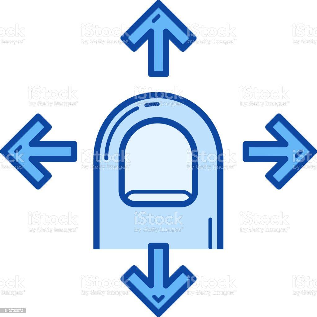 Finger drag four side line icon vector art illustration