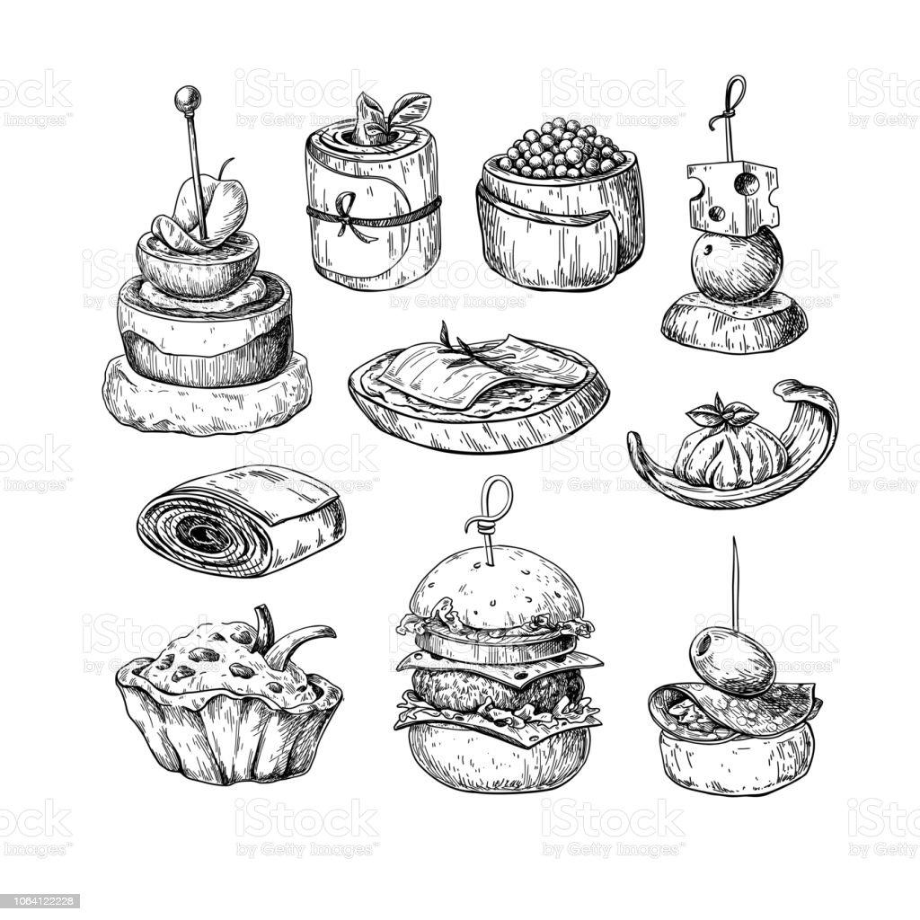 Dessins Vectoriels De Finger Food Nourriture Des Croquis