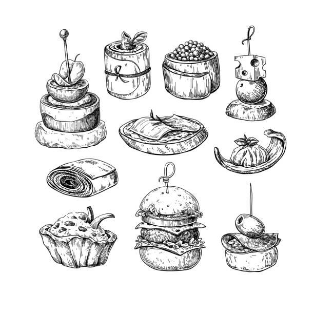 illustrations, cliparts, dessins animés et icônes de dessins vectoriels de finger food. nourriture des croquis apéritif et snack. canapés, bruschetta, sandwich pour buffet, restaurant, - entrée