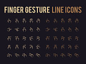 Finger gesture vector line icon - app and mobile web responsive