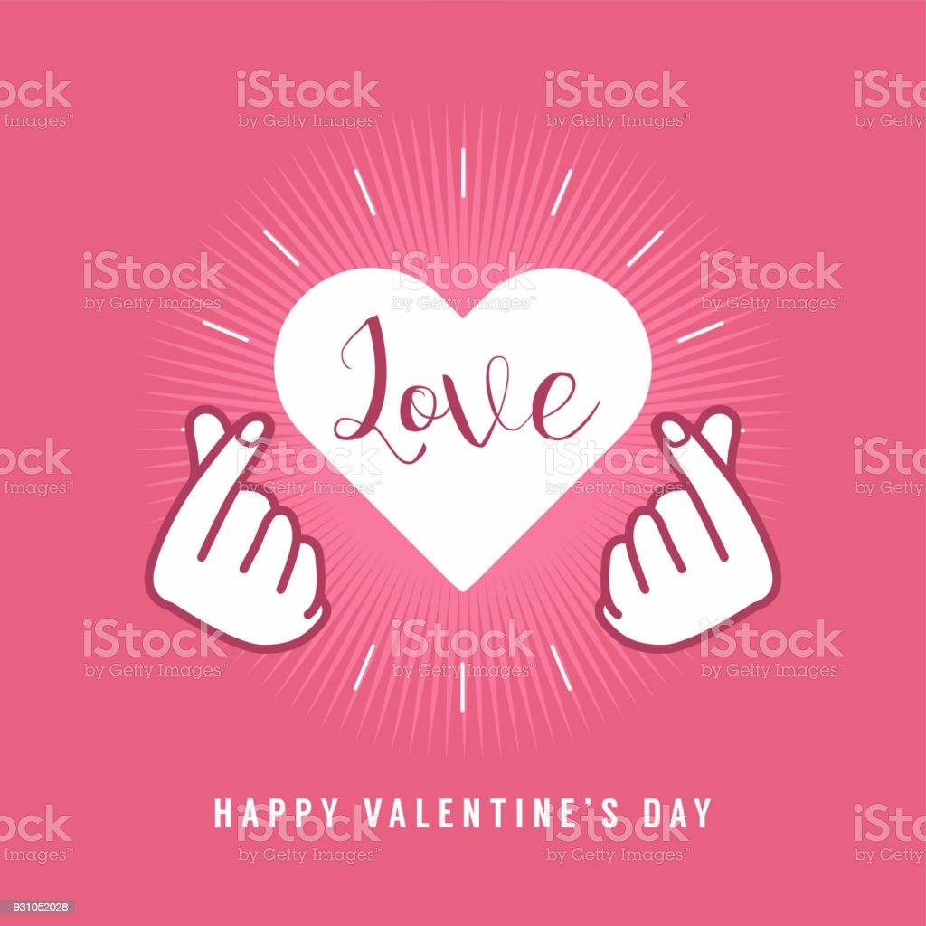 finger heart love sign symbol with happy valentines day romantic