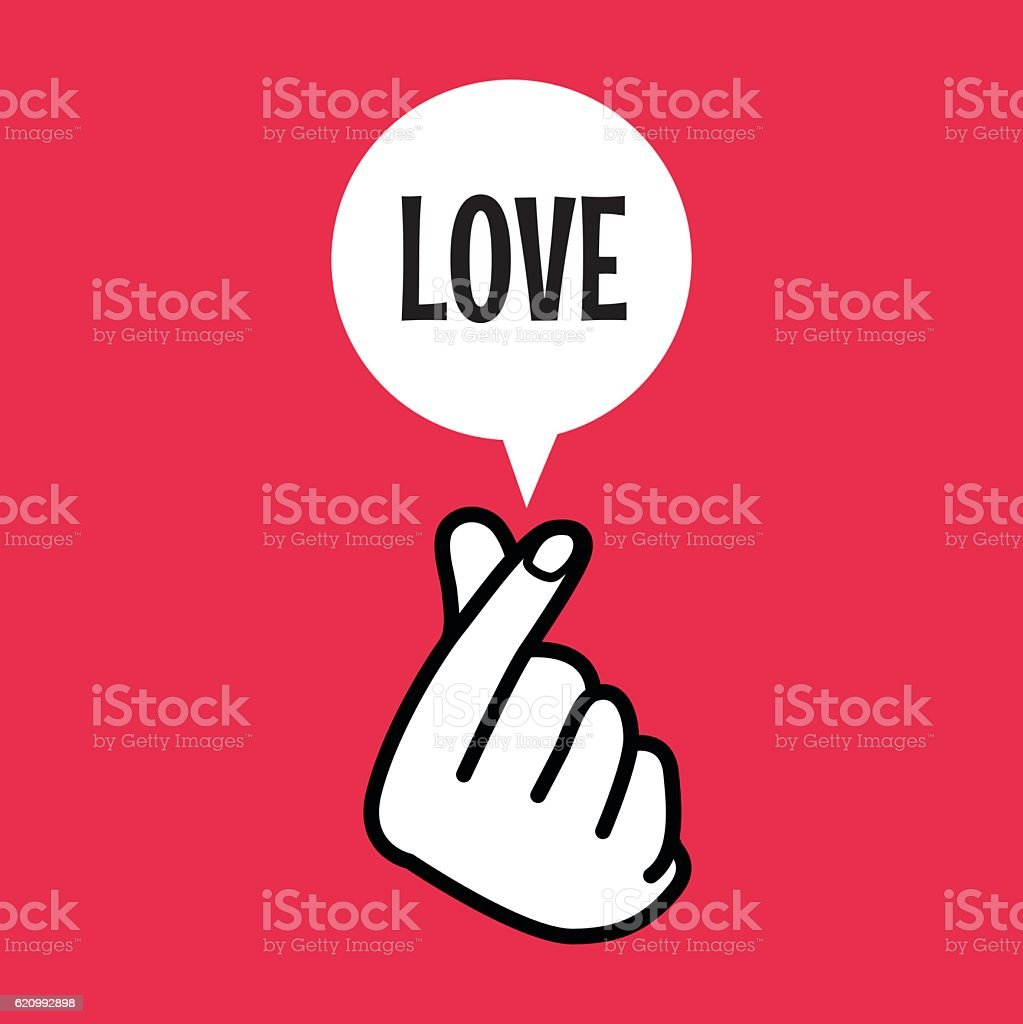Finger Heart Sign Symbol With Love Balloon Text Stock Vector Art